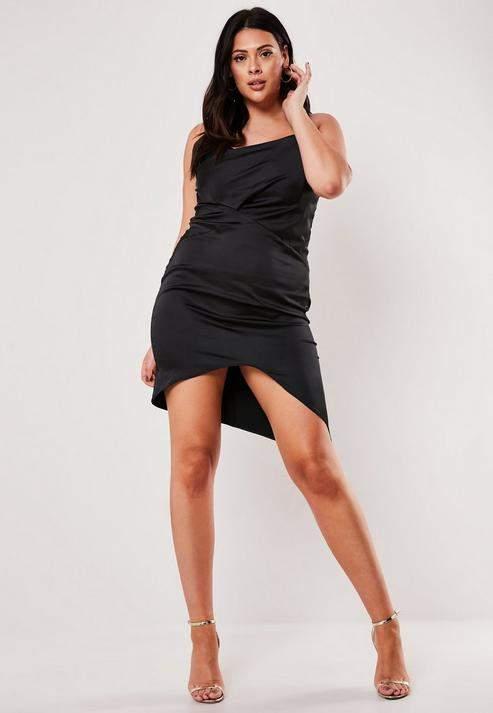 Black Satin Dress Plus Size - ShopStyle