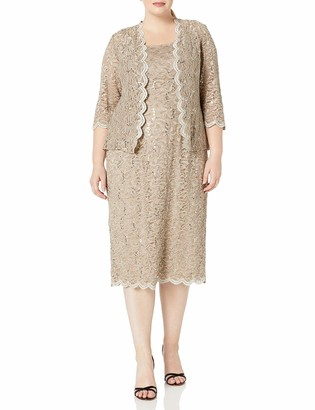 Alex Evenings Women's 16W Plus Size Tea Length Lace Dress and Jacket