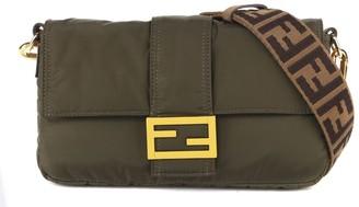 Fendi Baguette Regular Green Nylon Bag