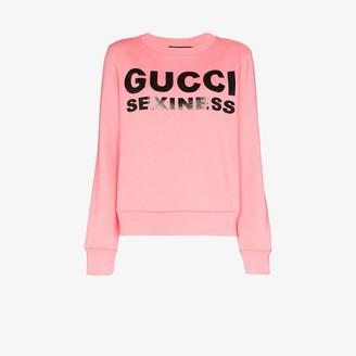 Gucci Sexiness Print Cotton Sweatshirt
