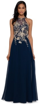 Betsy & Adam Petite Floral-Applique Illusion Gown