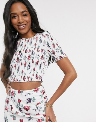 Fashion Union shirred crop top in floral print two-piece