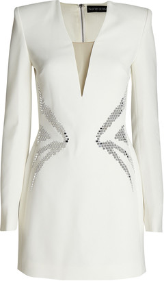 David Koma Embellished Cady Mini Dress