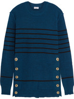 Sonia Rykiel Embellished Striped Knitted Sweater - Blue