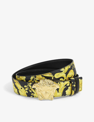 Versace Floral-print leather belt