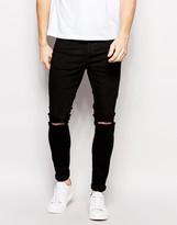 Selected Super Skinny Fit Jeans with Stretch and Rips