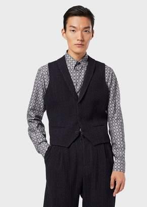 Giorgio Armani Single-Breasted Gilet In Pinstripe Knit-Effect Virgin Wool