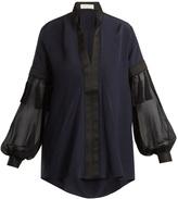 Amanda Wakeley V-neck contrast-panel silk crepe de Chine blouse