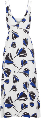 Grey Jason Wu Tie-back Printed Crepe Midi Dress