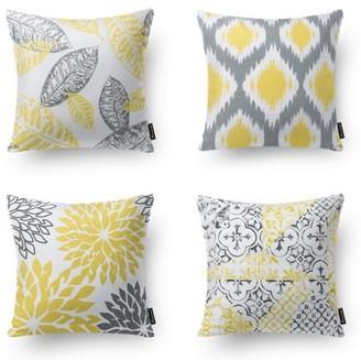 "Phantoscope New Living Series Decorative Throw Pillow Cover, 18"" x 18"", Yellow Gray, Set of 4"