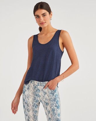 7 For All Mankind Scoop Neck Tank in Navy