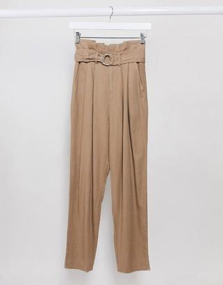Stradivarius linen paperbag trousers in beige