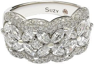 Suzy Levian Sterling Silver Round-Cut & Marquise-Cut CZ Flower Ring