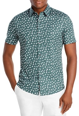 Michael Kors Cotton Stretch Abstract Floral Print Slim Fit Button Down Shirt
