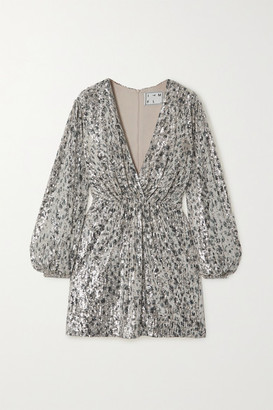 In The Mood For Love Ming Printed Sequined Tulle Wrap-effect Mini Dress - Silver