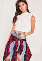 Missguided White Mesh Panel High Neck Cropped Sweater