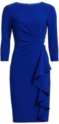 Crepe Side Ruffle Sheath Dress