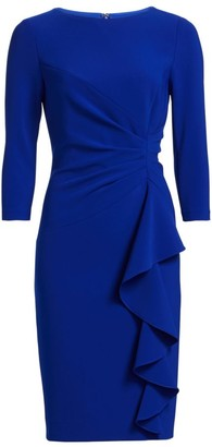 Teri Jon By Rickie Freeman Crepe Side Ruffle Sheath Dress