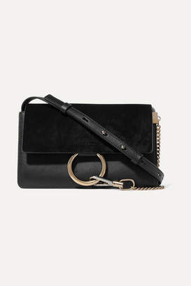 Chloé Faye Small Leather And Suede Shoulder Bag - Black