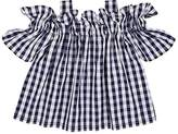Il Gufo Kids' Gingham Cotton Off-The-Shoulder Blouse