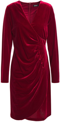 DKNY Wrap-effect Stretch-velvet Mini Dress