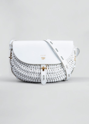 Tom Ford T Twist Small Woven Leather Saddle Crossbody Bag