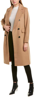 French Connection Long Double-Breasted Wool-Blend Coat