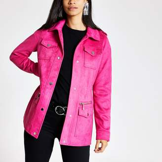 River Island Womens Pink faux suede utility jacket