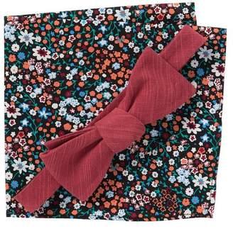 Original Penguin Solid Bow Tie & Floral Pocket Square Set