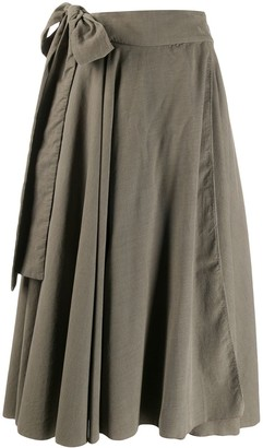 Maison Flaneur Knotted Draped Midi Skirt