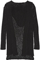 James Perse Hooded Open-knit Cotton And Linen-blend Cardigan - Black