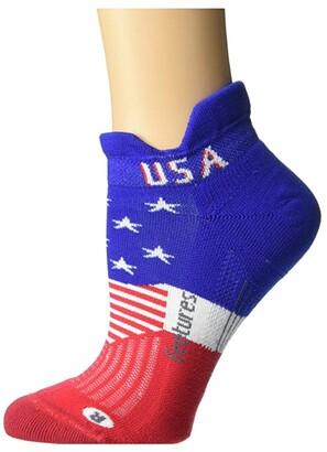 Feetures Elite Light Cushion No Show Tab Freedom (Freedom Blue) Crew Cut Socks Shoes