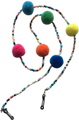 Eyewearstraps NEW Funky Multicoloured Beaded & Pom Pom Glasses Sunglasses Chain Strap Cord Holder Festival