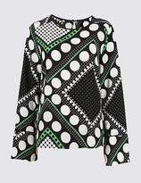 Marks and Spencer Spotted Flute Cuff Long Sleeve Blouse