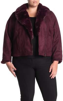 Catherine Malandrino Faux Fur Trim Faux Suede Zip Jacket (Plus Size)