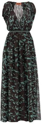 Missoni Cape-sleeve Lame-knit Dress - Black Green