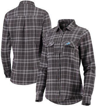 Antigua Women's Gray Detroit Lions Stance Flannel Button-Up Long Sleeve Shirt