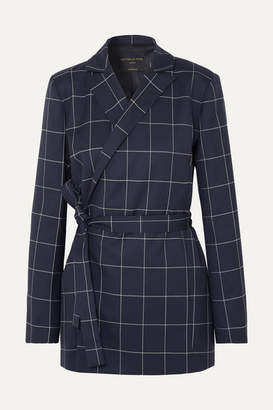Mother of Pearl Checked Organic Wool Blazer - Navy