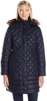 Joules Women's Snowshill Faux Fur Trim Longline Quilted Jacket