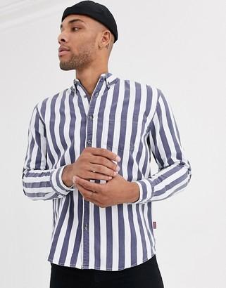 Bershka striped shirt in blue and white