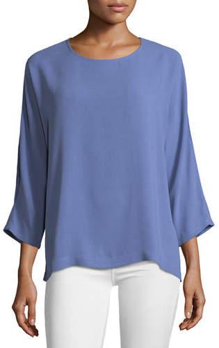 Eileen Fisher Silk Georgette Crepe Slit-Sleeve Top