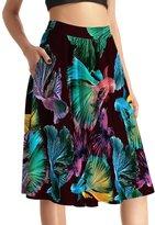 THUNDERSTAR Plus Size Womens Skirt Elastic Waist Printed Pockets Knee length 0007 XXXXL