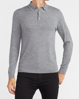 Express Merino Wool-Blend Polo Sweater
