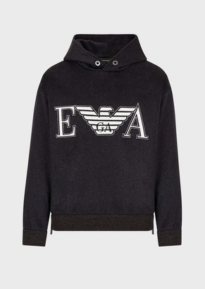 Emporio Armani Wool And Cashmere Sweatshirt With Embroidered Logo And Hood