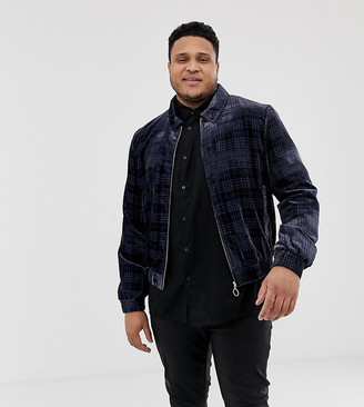 Asos Edition EDITION Plus bomber jacket in navy check velour with ring pull