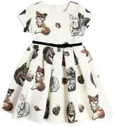 MonnaLisa Animals Print Cotton Blend Brocade Dress