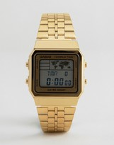 Casio Digital Map Watch In Gold A500WA-1DF