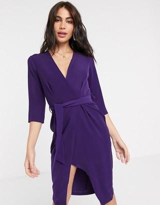 Closet London Closet 3/4 sleeve wrap pencil dress in purple