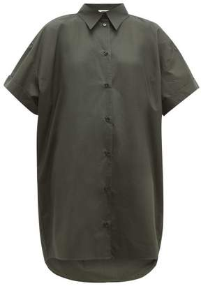MM6 MAISON MARGIELA Dropped-hem Cotton-poplin Shirt Dress - Womens - Dark Green
