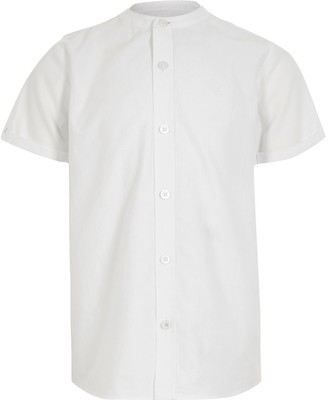River Island Boys white grandad collar twill shirt